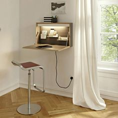 Wall Mounted Desk Design Ideas For Home Office - Wall Mounted Desk, Wall Desk, Space Saving Desk, Space Saving Furniture, Bureau Design, Objet Deco Design, Table Design, Box Design, Minimalist Furniture