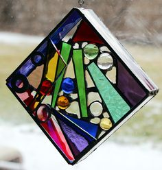 """Original 3D free-hanging Stained Glass Art - Color Me Square - 4.5"""". $39.00, via Etsy."""