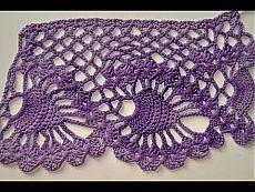 Like a similar finish, tying Pineapple pattern. Crochet Edging Patterns, Crochet Headband Pattern, Crochet Motif, Hand Crochet, Free Crochet, Crochet Towel, Crochet Quilt, Crochet Pillow, Crochet Hooks
