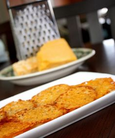 Low-Carb Snacks : Homemade Baked Cheese Crisps Recipe  ...PERFECT! an oven version of what christine does with leftover cheese from quesadillas!lol #foods