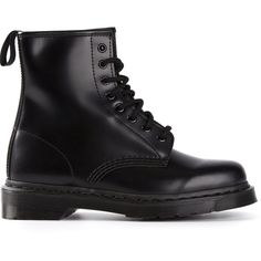 Dr. Martens '1460 Mono' lace-up boots (€150) ❤ liked on Polyvore featuring shoes, boots, botas, footwear, black, laced up shoes, black shoes, black laced boots, laced boots and genuine leather boots