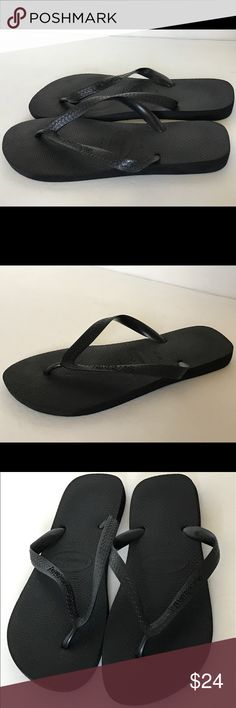 Havaianas Men's Flip Flops Black SZ 10/11 New Condition, Worn for less than 10 minutes On Film Set..  Havaianas Men's Flip Flops   Size 10/11   Color: Black   Retail $40   Made in Brazil   *** I'm a wardrobe stylist and these flip flops were purchased for a film but only worn on set for less than 10 minutes. There's very slight signs of wear on the bottom soles, but other than that they are in new condition, as shown in detailed pictures ***   NO BOX Havaianas Shoes Sandals & Flip-Flops