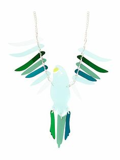 Large parakeet necklace green