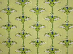 Shades of Green MoonMoth Print Pure Cotton Fabric--One  Yard