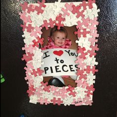 Perfect valentines craft; best part is, I have about a ZILLION puzzle pieces in the house that are missing or mixed up that could be re-used!