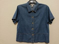 Original TY Wear - Women's Denim Top Size 14 Blue Jean Blouse with Short Sleeve #OriginalTYWear #ButtonDownShirt #Casual  ..... Visit all of our online locations ..... (www.stores.eBay.com/variety-on-a-budget) ..... (www.amazon.com/shops/Variety-on-a-Budget) ..... (www.etsy.com/shop/VarietyonaBudget) ..... (www.bonanza.com/booths/VarietyonaBudget ) .....(www.facebook.com/VarietyonaBudgetOnlineShopping)