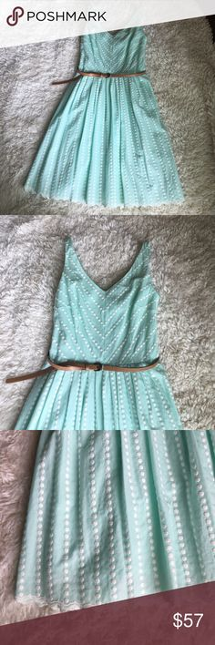 Antonio Melani Blue and White Swiss Dot Dress Beautiful Antonio Melani Seafoam Blue and White Swiss Dot Dress with Pleated Bottom and Embroidered Trim. Belt included. Only worn once. Like new condition. Length is 37 inches from shoulder to bottom hem. ANTONIO MELANI Dresses