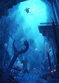 沈んだ街とランタン海月