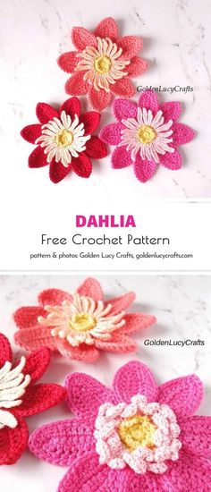 The patterns by Golden Lucy Crafts are always so charming! We adore crocheting all the little appliques she designs and decorating our projects. A set of crochet dahlias will lift your spirits this spring! Get them ready! #freecrochetpattern #crochetpattern #crochetflower #crochetapplique Knitting Kits, Knitting Projects, Crochet Projects, Diy Projects, Flower Applique Patterns, Crochet Patterns, Free Crochet, Crochet Hats, Super Chunky Yarn