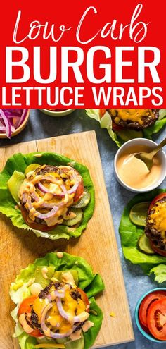 These Low Carb Burger Lettuce Wraps are made with double-stacked patties sandwiched between layers of shredded cheddar cheese and special sauce! #lettucewraps #lowcarb #burgers Lettuce Burgers, Lettuce Wrapped Burger, Lettuce Wraps, Supper Recipes, Whole Food Recipes, Low Carb Burger, Bariatric Recipes, Easy Weeknight Dinners, Ground Beef Recipes