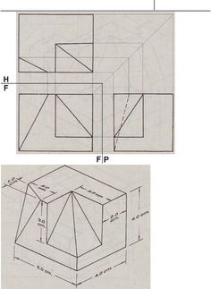 Orthographic Projection, Orthographic Drawing, Isometric Drawing Exercises, Interesting Drawings, 3d Sketch, Geometric Drawing, Cube Design, 3d Drawings, Technical Drawing