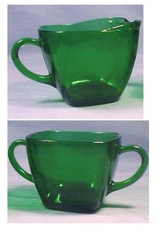 Fire King Charm Forest Green Sugar and Creamer