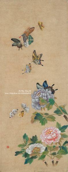 문선영作- 민화(화접도) 2012년 민수회展 : 네이버 블로그 Korean Painting, Chinese Painting, Chinese Art, Chinese Butterfly, Butterfly Art, Japon Illustration, Botanical Illustration, Japan Painting, Korean Art