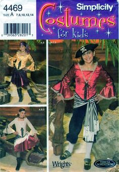 Pirate Halloween Costume Simplicity 4469 Pirate, Buccaneer, Wench, Historical - Dance Theater Recital Drama Size 7-8-10-12-14 UNCUT by FindCraftyPatterns on Etsy