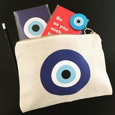 Handmade cosmetic canvas pouch with inner lining and YKK zipper.size measures x Hamsa, Cotton Bag, Cotton Canvas, Goodluck Charms, Eye Symbol, Bag Quotes, Canvas Purse, Handmade Cosmetics, Evil Eye Jewelry
