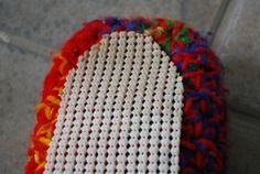 Quick No-Slip-ers by Melissa Mall. How to put a no-slip bottom on crochet slippers using shelf liner. Also the all-size pattern for crochet slippers.