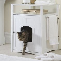 Cat Washroom : No more mess from cat litter boxes. The Cat Washroom serves as an attractive cover to hide away the litter box and confine all litter messes inside, while providing useful shelf space and stainless steel towel bar for many organizing o Washroom, Cat House, Home, Animal House, Cat Furniture, Pet Friendly Furniture, Litter Box Furniture, Dog Sofa Bed, Home Decor