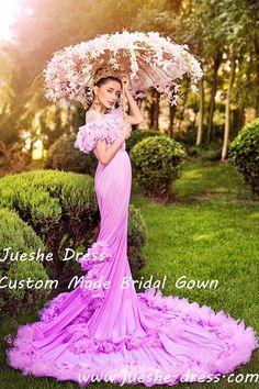 rose red ruffle chiffon wedding dress