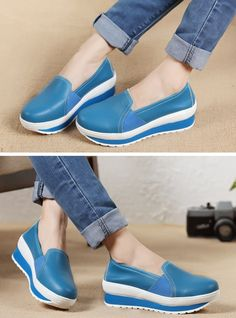 Women's casual #blue PU leather slip on #platform shoes, Round toe design, leather upper, mesh lining.