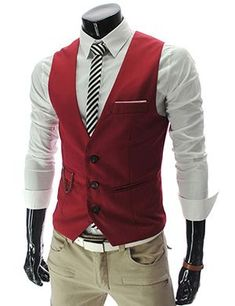 Mens slim Fit chain point 3 button vest Red groomsmen waistcoat