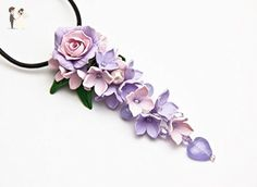 01 HANDMADE Floral Pendant Necklace , lilac pink flowers polymer clay flower, pendant with flowers, lilac pendant, flower pendant, jewelry, pendant for women - Wedding nacklaces (*Amazon Partner-Link)