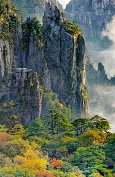 HUANGSHAN, China: formed in the Mesozoic, approximately 100 million years ago, when an ancient sea disappeared due to uplift. Later, in the Quaternary Period, the landscape was shaped by the influence of glaciers. The area is well known for its sunsets, peculiarly-shaped granite peaks, Huangshan Pine trees, hot springs, winter snow, & views of the clouds from above. Huangshan is a frequent subject of traditional Chinese paintings & literature. Landscape Photos, Landscape Art, Landscape Paintings, Landscape Photography, Nature Photography, Beautiful Paintings Of Nature, Nature Paintings, Beautiful Landscapes, Chinese Mountains