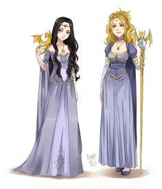 Luciana and Kaliya by meago.deviantart.com on @deviantART (High elven costume reference?)