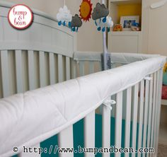 100% Natural Cotton Quilted Crib Teething Guards in Any Color - Low Profile.  Handmade by Lisa at www.BumpAndBean.etsy.com