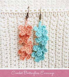 DIY Love: Crochet Butterflies Earrings by Praew Channel, via Flickr