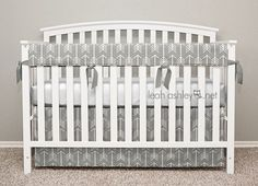 Bumperless Crib Bedding - Crib Skirt, Teething Crib Rail Cover - Gray Arrows - TS0a