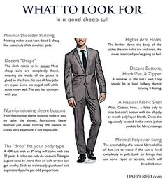 What to look for in a good, cheap suit. (via Dappered)