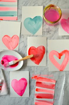 Watercolor Valentines that anyone can make! Valentine's Day cards with hearts. Even doable with kids. day cards handmade for kids Watercolor Valentines That Anyone Can Make! — super make it Valentines Bricolage, Kinder Valentines, Diy Valentines Cards, Valentines Day Decorations, Valentines Day Party, Valentine Day Crafts, Love Valentines, Holiday Crafts, Holiday Fun