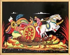 Karna Trying to Lift the Wheel of the Chariot in the Battlefield of Kurkshetra in Mahabharata - Wood Relief Work (Wall Hanging) (Wood)