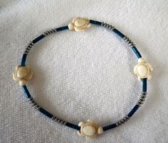 Blue and Silver Hematite Anklet with Turtles by silversunstudiobiz, $19.00