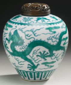 A GREEN-ENAMELED 'DRAGON' JAR QIANLONG SEAL MARK AND PERIOD - Sotheby's