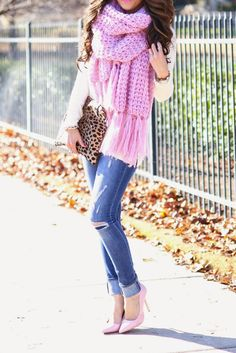 knitted chunky pink scarf, clare vivier leopard print clutch, dittos jeans, topshop pumps bmodish