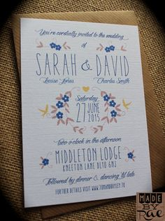 Personalised wedding invites rustic navy blue & yellow floral kraft envelopes
