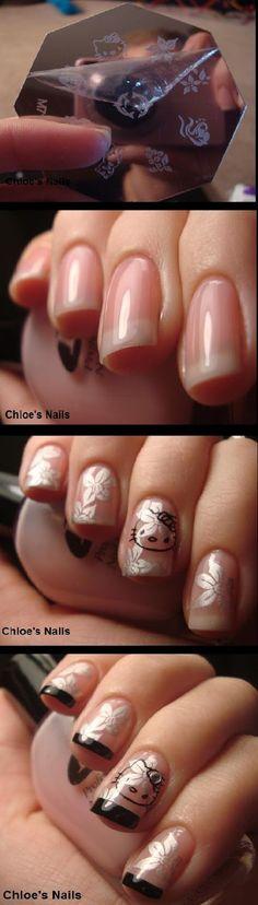 Hello Kitty Funky French Nail Art thanks to Born Pretty
