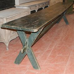 Long Harvest Table Long Narrow 19th C Painted Harvest Table. 1830.