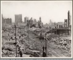 Baltimore after the great fire of 1904 started on Sunday, February 7, at 11 AM and lasted to Monday at 3 PM destroying downtown from Liberty Street east to the Jones Falls and Fayette Street south to the waters of the harbor. (http://www.mdch.org)