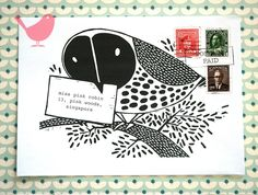 Set of five owl envelopes- print from a series of bird theme lino-cuts