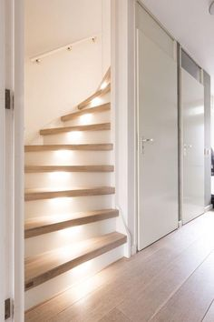Hallway – Home Decor Designs Home Stairs Design, Staircase Makeover, Stair Lighting, Stair Storage, House Stairs, Home Decor Inspiration, Decor Ideas, Home Renovation, House Plans