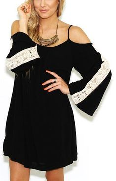 West Coast Wardrobe Womens Sweetie Cold Shoulder Top w/lace detail In Black