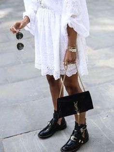 transition summer to autumn wardrobe - ankle boots and delicate white dress #women #fashion #outfitideas #streetstyle