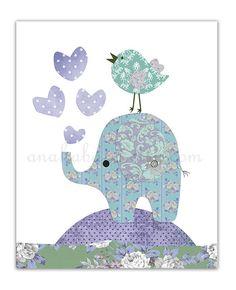 Nursery art print elephant kids decor love girl by Anakabana