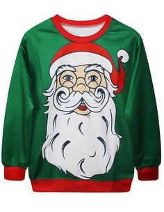 Oversized Santa Claus Printed Christmas Green Lovers Of Sweatshirt
