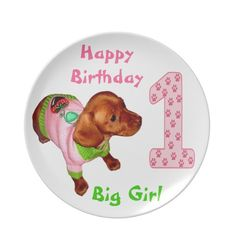 Personalized Birthday Plates Babies 1st Birthday. 1st Birthday Ideas for Girls with Cute Little Miniature Dachshund Puppy. See More Personalize Baby Gifts and Customizable Kids Stuff CLICK HERE: http://www.zazzle.com/littlelindapinda/gifts?cg=196511388019813664&rf=238147997806552929*/   ALL of Little Linda Pinda Designs CLICK HERE: http://www.Zazzle.com/LittleLindaPinda*/