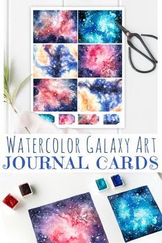 Journal Cards Printable! Hand-drawn watercolor galaxy art turned into a set of journaling cards (and bonus gift tags) for your scrapbook, diary, as gift cards, planner decor...  Digital paper set on Etsy with watercolour pattern