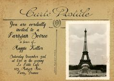 Carte Postale Vintage French Postcard Invitation - PRINTABLE Party Invitations