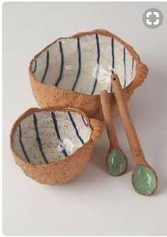 Reshef - Mine will be Coconut Shells with Paper & Glow and Plastic Shopping Bags.Sarit Reshef - Mine will be Coconut Shells with Paper & Glow and Plastic Shopping Bags. Ceramic Spoons, Ceramic Tableware, Ceramic Clay, Ceramics Projects, Clay Projects, Pottery Bowls, Ceramic Pottery, Thrown Pottery, Pottery Wheel